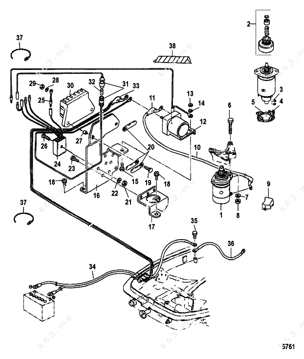 Mercurymariner 30 2 Cyl International Electric Starter Components